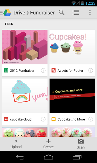 android Google Drive for Android gets lighter color theme, buttons for uploading, creating, and scanning documents