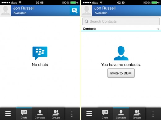 bbm nofriends 520x386 Hands on with BlackBerrys BBM app for iOS