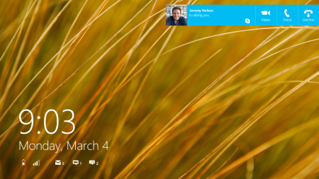 blue pre release lockscreen Microsoft launches Skype pre release for Windows 8.1, lets you answer calls from the lock and Start screens