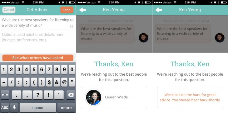 cinch03 730x363 Klout launches Cinch, a Quora like iOS app tied to your personal graph
