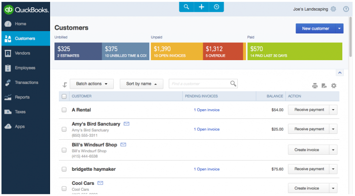 customers 730x404 Intuit refreshes QuickBooks Online for the Web as it pursues being a business operating system
