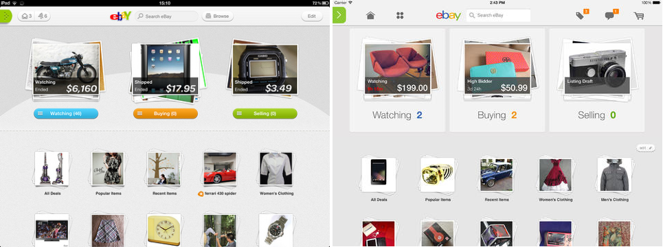 eBay iOS7 Before and after: The best iOS 7 app redesigns