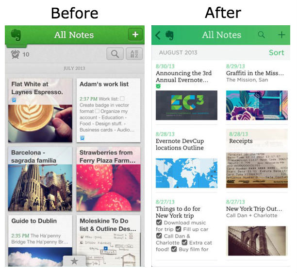 evernote beforeafter Before and after: The best iOS 7 app redesigns