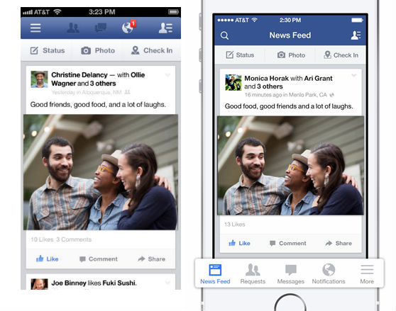 facebook beforeafter Before and after: The best iOS 7 app redesigns