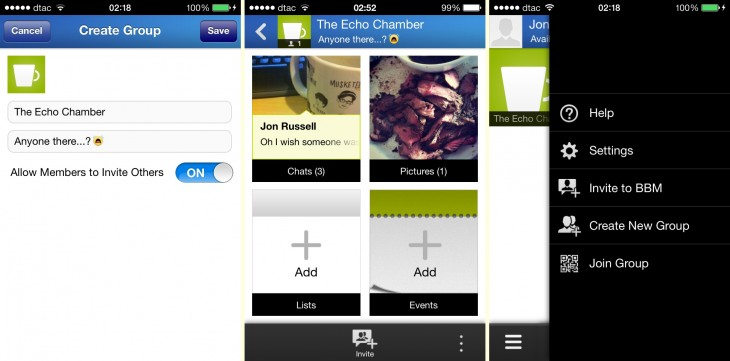 groups 730x361 Hands on with BlackBerrys BBM app for iOS