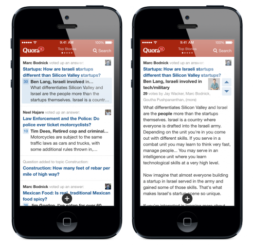 image4 520x507 Quora dives into iOS 7 as its app focuses on faster discovery, reveals iPad version coming this year
