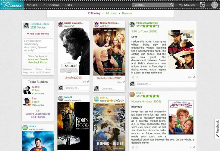 Rinema: International movie recommendations from viewers with similar tastes as you