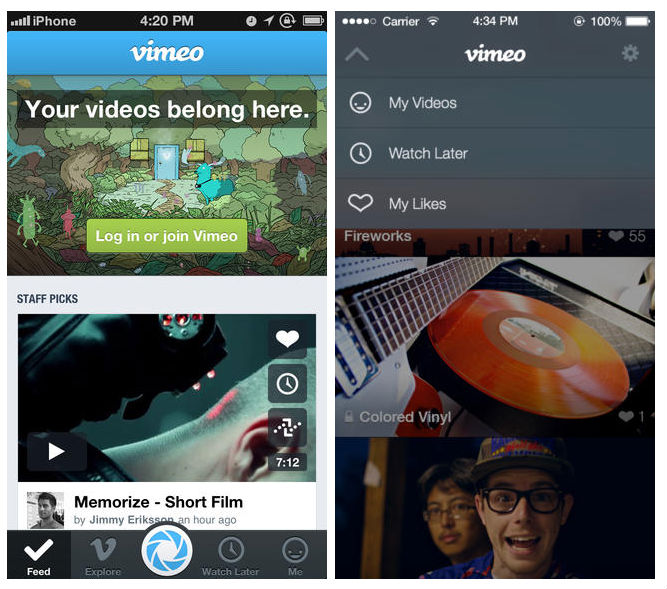 vimeo beforeafter Before and after: The best iOS 7 app redesigns
