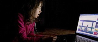 Girl watching online video