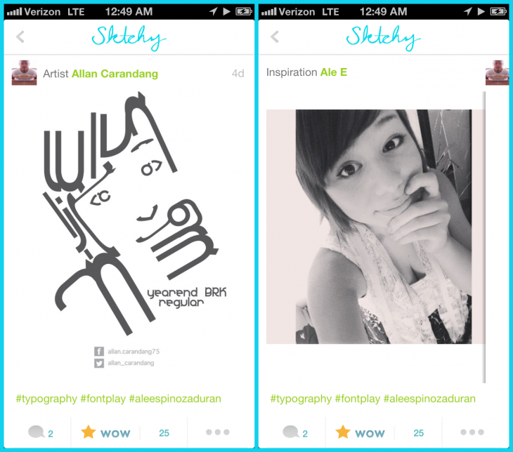 Allan Carandang diptych 730x644 Sktchy for iPhone invites artists to create portraits of user submitted photos
