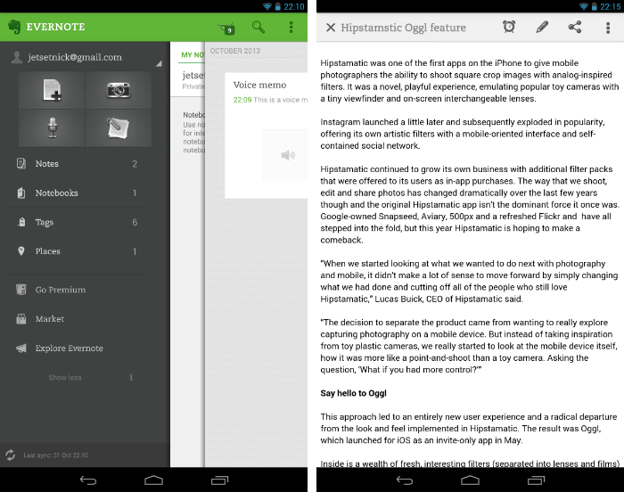 Evernote1 30 of the most beautiful and well designed Android apps
