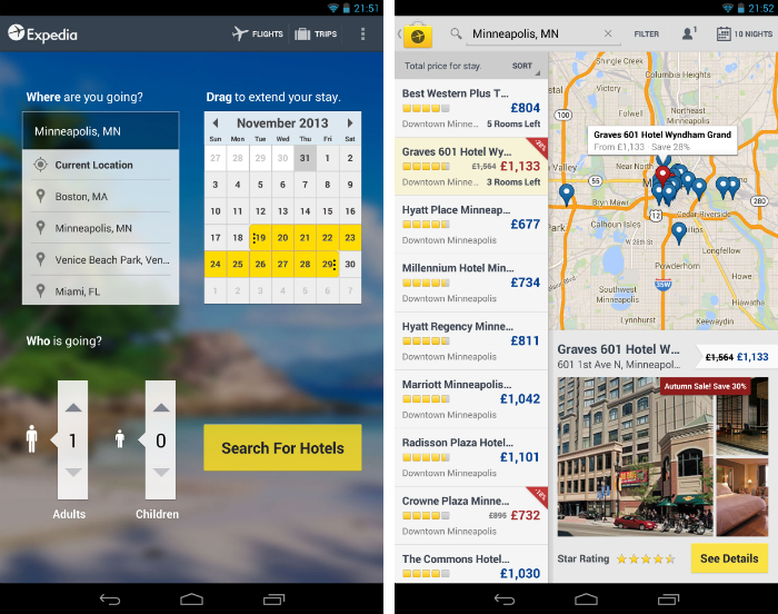 Expedia1 30 of the most beautiful and well designed Android apps