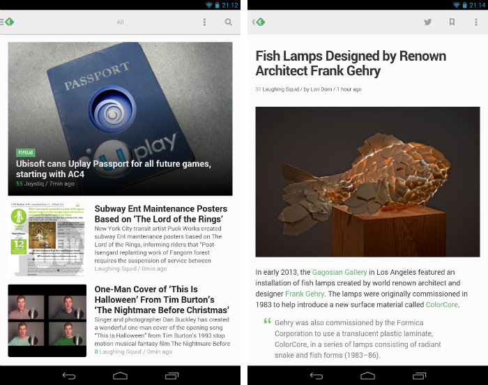 Feedly11 30 of the most beautiful and well designed Android apps