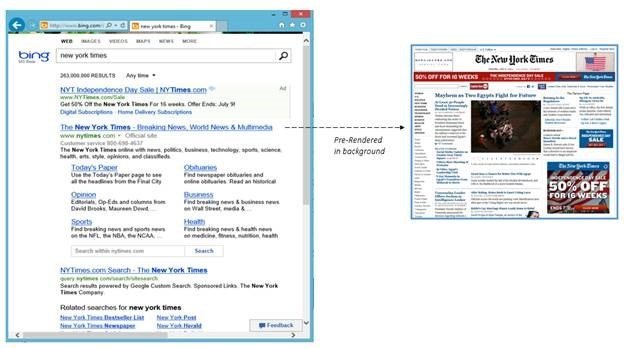 Image 3 2C221E26 Bing gets IE11s pre render tag, now downloads the top result in the background for a speedier search