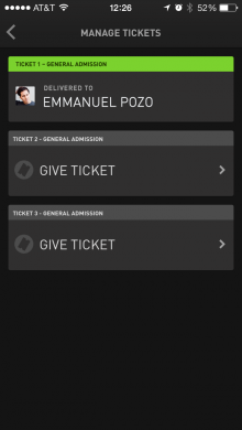 Manage Tickets WillCall 220x390 WillCall now lets you give the gift of concerts through its last minute ticket buying app