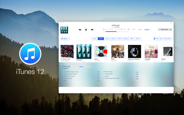 OS X iTunes 730x456 With OS X Mavericks around the corner, here are 10 awesome OS X design concepts you have to see