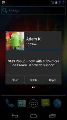 SMS Popup 220x391 The 40 Must Have Android Apps for the Power User