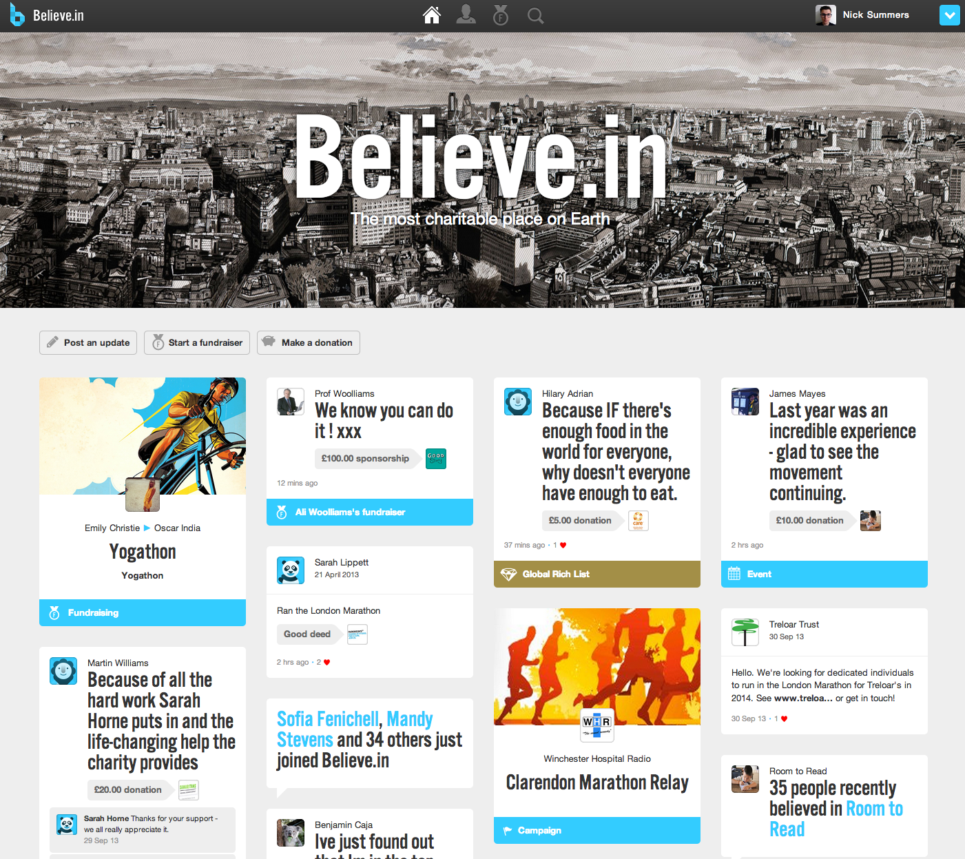 Screen Shot 2013 10 01 at 12.05.07 Believe.in redesigns its beautiful, social fundraising platform with a new tile layout