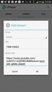 Add stream VPlayer video player app