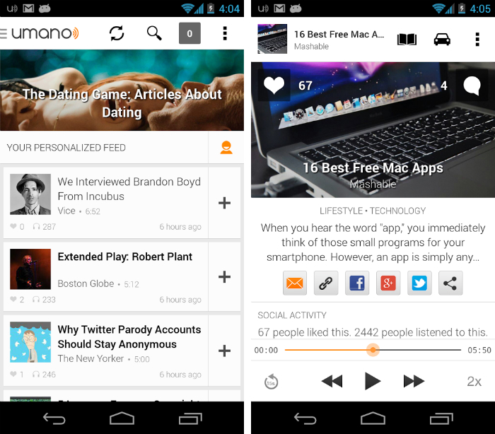 Umano1 30 of the most beautiful and well designed Android apps