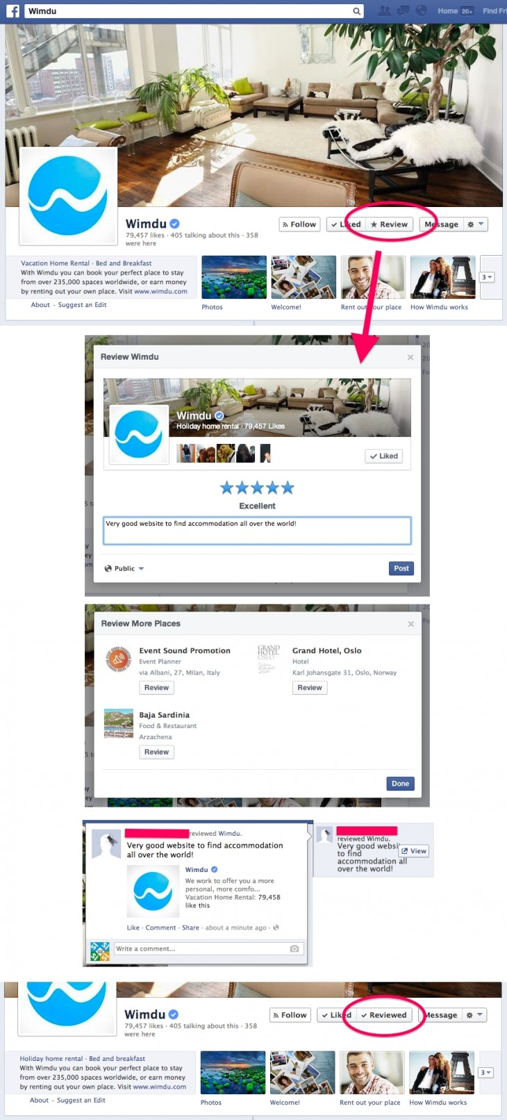 WimduReviewStepByStep 730x1612 Facebook is testing the addition of Follow and Review buttons on Pages
