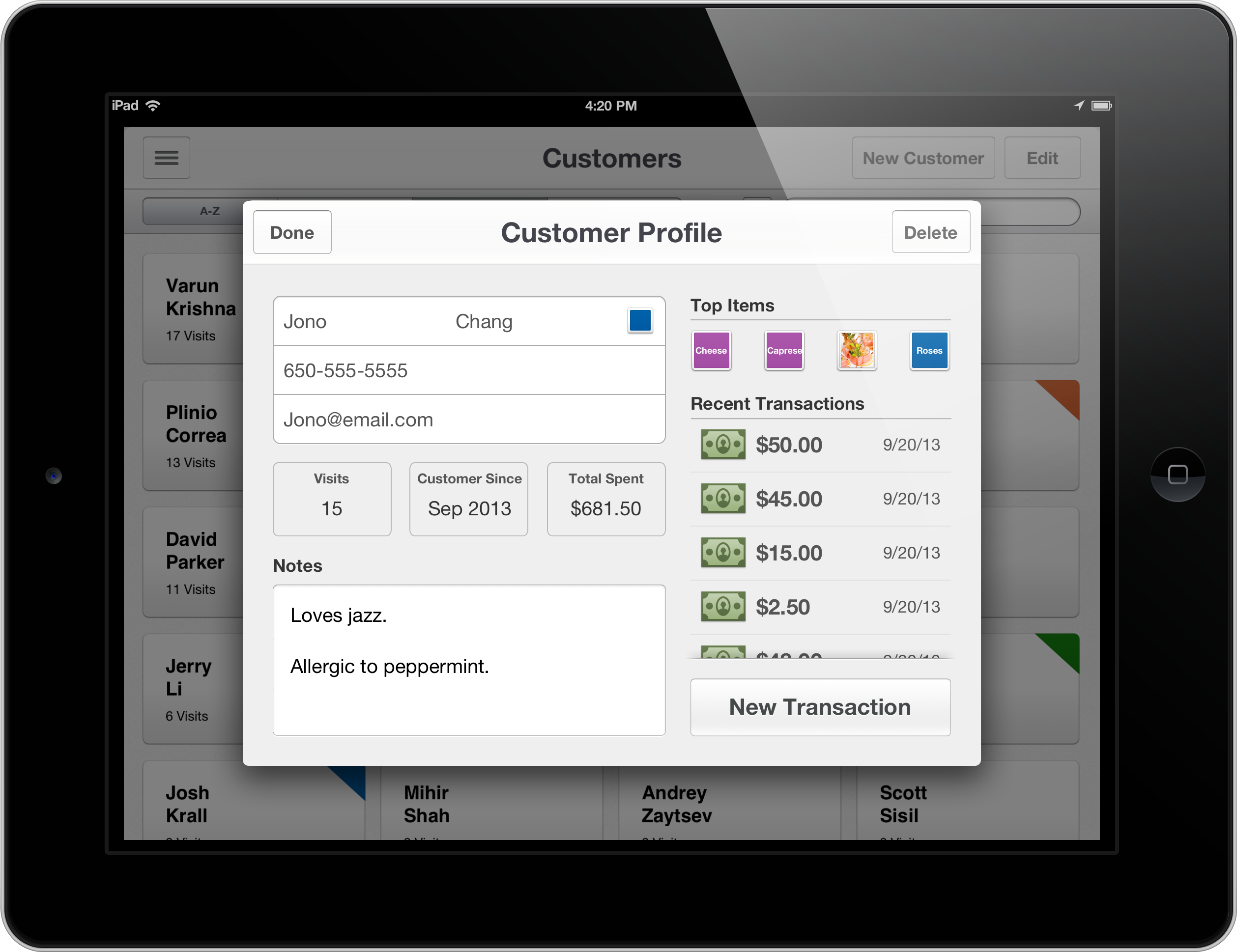 customer profiles open card with iPad Groupon updates its Breadcrumb point of sale iPad app with customer profiles and employee reports