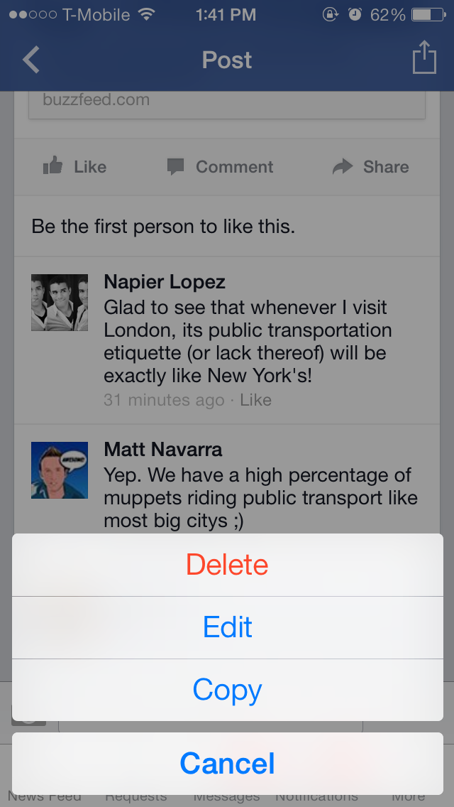 Facebook updates iOS app to support editing of comments and posts, attaching photos to comments