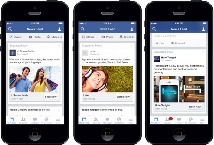 facebookadscreenshot 730x495 Facebook lets developers customize their mobile app install ads to drive user engagement
