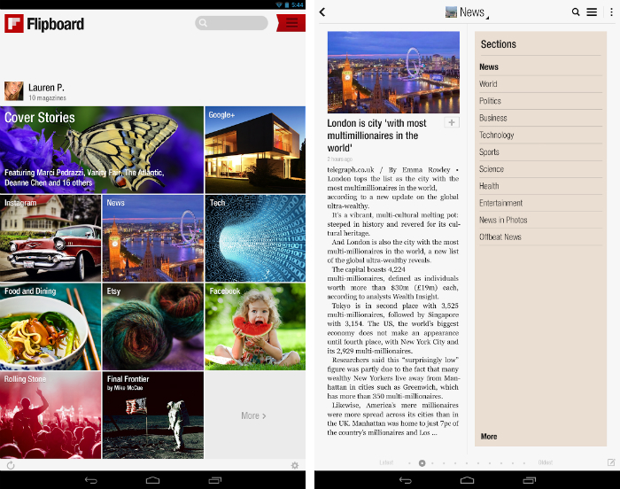 flipboard11 30 of the most beautiful and well designed Android apps