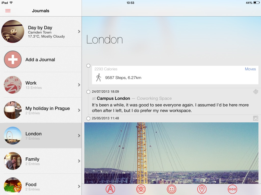 ipadlondontwo Journal app Narrato goes freemium, now iPad optimized with landscape mode, social sharing and more