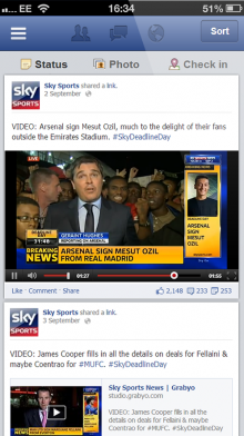 iphone fb 220x392 Sky Sports to broadcast real time Champions League clips through Twitter and Facebook in the UK