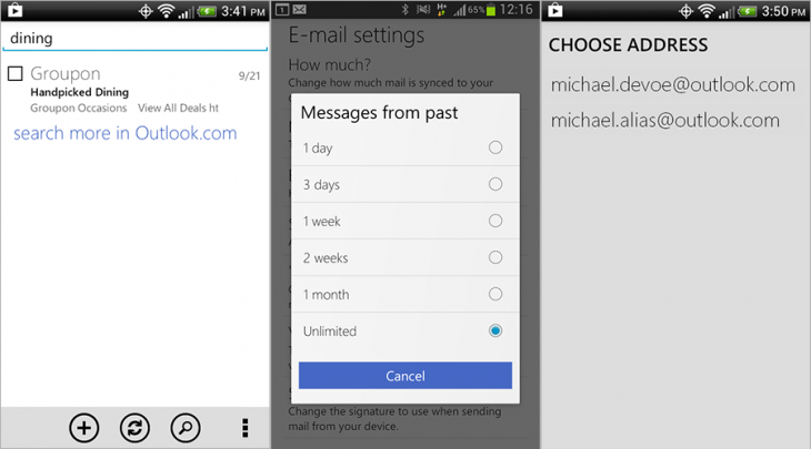 outlook android 730x405 Outlook.com for Android gets server side search, option to download all mail, aliases, and vacation replies