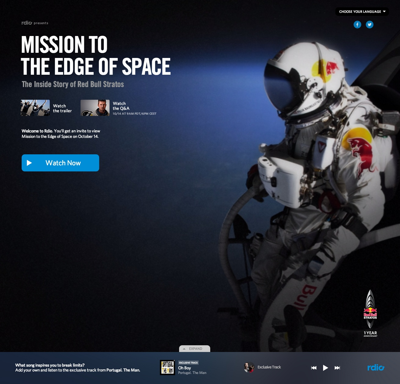 resource1 Rdio marks the anniversary of Felix Baumgartners sky dive from space with a free documentary