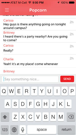 Popcorn for iOS helps you discover people, parties and whats going on within a 1 mile radius