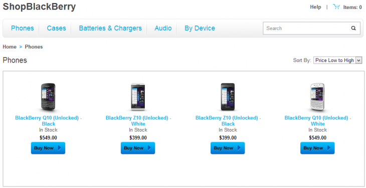 shopblackberry devices 730x376 BlackBerry begins selling SIM unlocked smartphones online, starting with Z10 for $399 and Q10 for $549 in the US