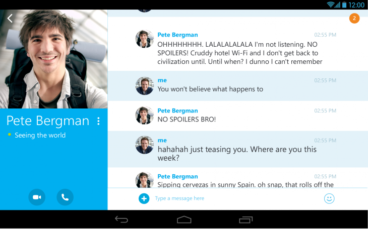 skype 4 4 tablet messaging1 730x456 Skype for Android redesigned for tablets, sees orientation tweaks and up to 4x higher resolution for video calls