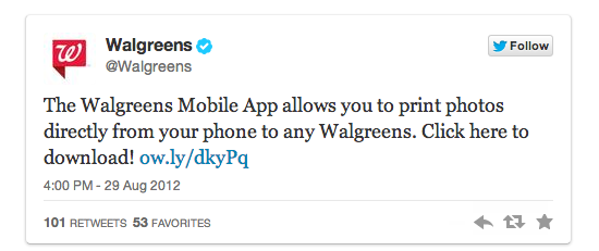 walgreens tweet A scientific guide to writing great headlines on Twitter, Facebook and your blog