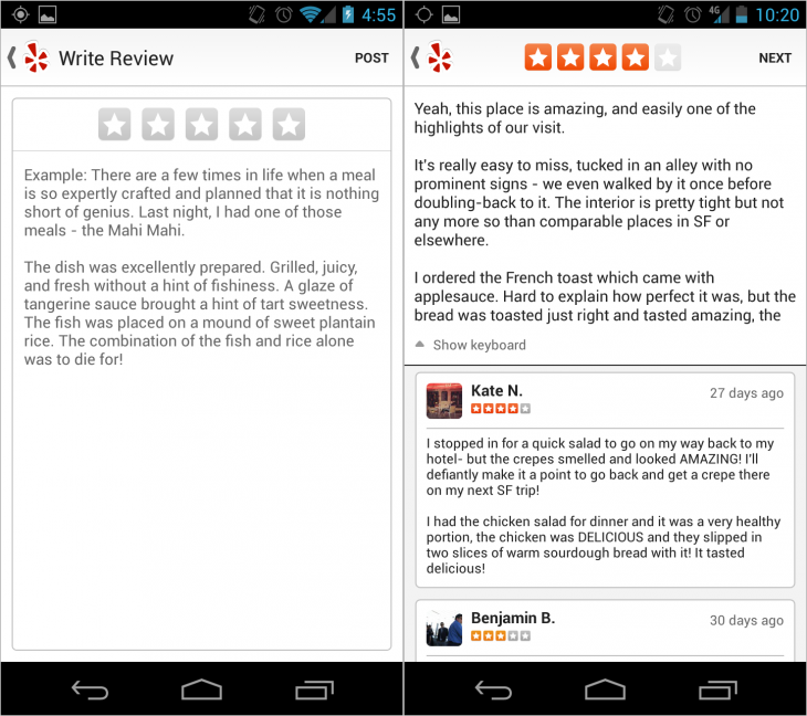 yelp android reviews 730x648 Two months after iPhone rollout, Yelp brings mobile reviews to Android