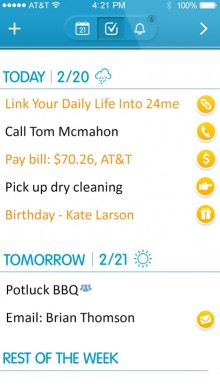 2 220x392 Automatic to do list app 24me is now a smart calendar too