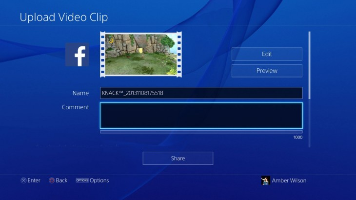 This is what the PlayStation 4s Facebook integration looks like
