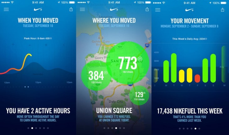 Nike Move 730x431 Nike releases the Nike+ Move app, which makes use of the M7 chip in the iPhone 5s