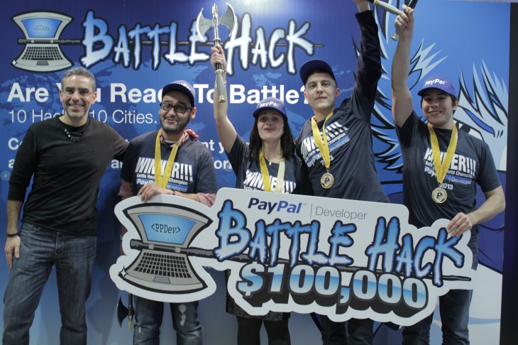 PayPal Battle Hack Finals Winners 730x486 Donate Now scoops $100,000 top prize at PayPals global hackathon for its quick donation app