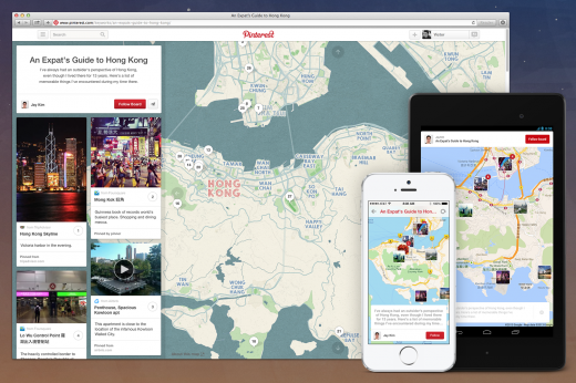 Place Pins All 520x346 Pinterest moves into travel after launching new tools to help users plan trips