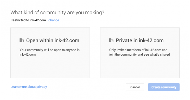 Restricted Communities 2 Ink 42 730x385 Google launches restricted Google+ communities to let businesses make conversations private or invite only