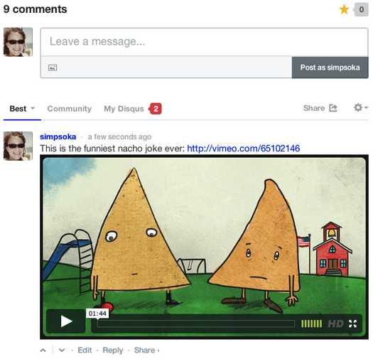comments w embedded media Disqus adds embed support for YouTube videos, GIFs, tweets, and other rich media into comments