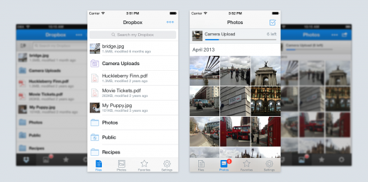 dropbox ios7 comparison final 520x257 Dropbox gives its iOS app a redesign and adds AirDrop support, teases exciting things to come