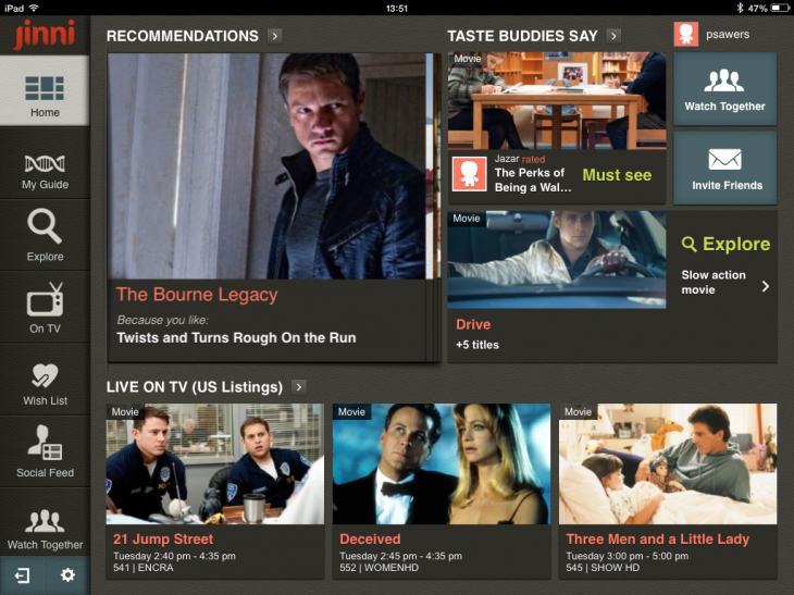 f1 730x547 Jinni for iPad could become the ultimate TV and movie recommendation app