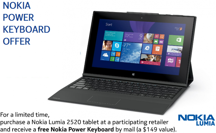 free nokia lumia keyboard 730x449 Nokia boosts its first tablet launch: Buy a Lumia 2520 before December 2, get the $149 Power Keyboard for free