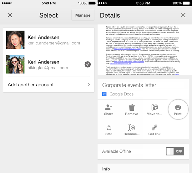 google drive ios Google Drive for iOS gets multiple account support, single sign in, printing via Google Cloud Print and AirPrint