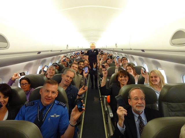 jetblue gadgets Good times. A photo of happy passengers from the first flight to allow gate to gate gadget use